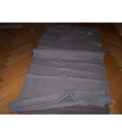 410 grams - Handspin and handwoven heavy wool fabric - natural grey colour