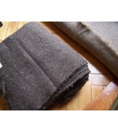 415 grams - Hand spun and hand woven heavy wool fabric - natural dark brown colour
