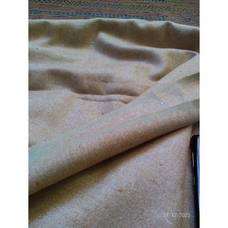 Twill weave 272 grams per meter - Light Brown piece of hand woven wool fabric